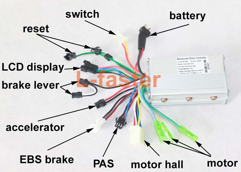 electric scooter brushless hub motor controller 250w e scooter hub motor kit (45mm) l faster com electric scooter controller wiring diagram at soozxer.org